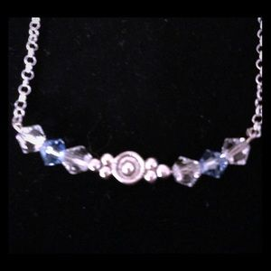 Sterling Silver 925 Blue Swarovski Bead Necklace